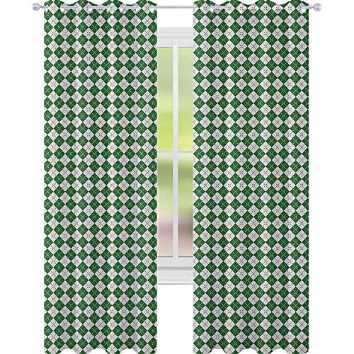 YUAZHOQI Christmas Thermal Insulated Blackout Curtain Vintage Fashion Pattern of Traditional Argyle Checkered Scottish Irish Culture Customized Curtains 52' x 63' Green White