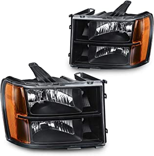 Headlight Assembly for 2007-2013 GMC Sierra 1500/2007-2014 Sierra 2500HD 3500HD Headlamps Replacement Black Housing Amber Reflector (Passenger and Driver Side)