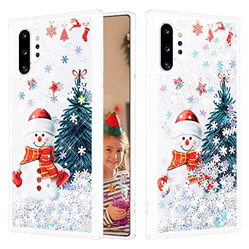 Caka Case for Galaxy Note 10 Plus Glitter Case Christmas Snowflake Women Girls Liquid Bling Fashion Flowing Sparkle Shining Glitter Soft TPU Clear Cute Case for Samsung Galaxy Note 10 Plus (Snowman)