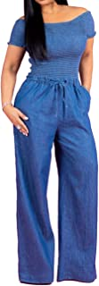 Sexyshine Women's Halter Lace Up Backless Casual Wide Leg Blue Denim Long Jumpsuit Playsuit Rompers with Belt