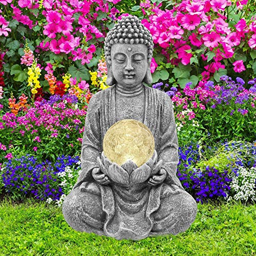 Goodeco Meditating Buddha Ornament with Solar Light,Zen Solar Garden Buddha with Cracked...
