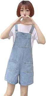JinNiu レディース デニム サロペット ショート ブルー オーバーオール 夏 カジュアル 大きいサイズ シンプル ゆったり おしゃれ