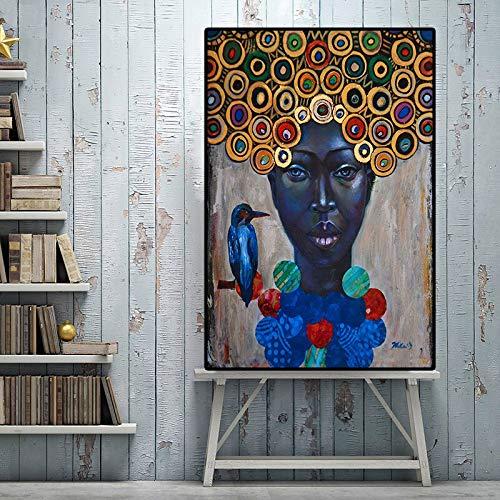 wZUN Pintura al óleo Abstracta del Retrato de la Vendimia de la Mujer Africana en Carteles e Impresiones del Arte de la Lona Pinturas en la Pared de la Sala de Estar 60x80 Sin Marco