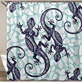 VAMIX Shower Curtain,Gecko Lizard Abstract Reptile Animal,Polyester Fabric Waterproof Bath Curtains Hooks Included - 72 x 72 inches