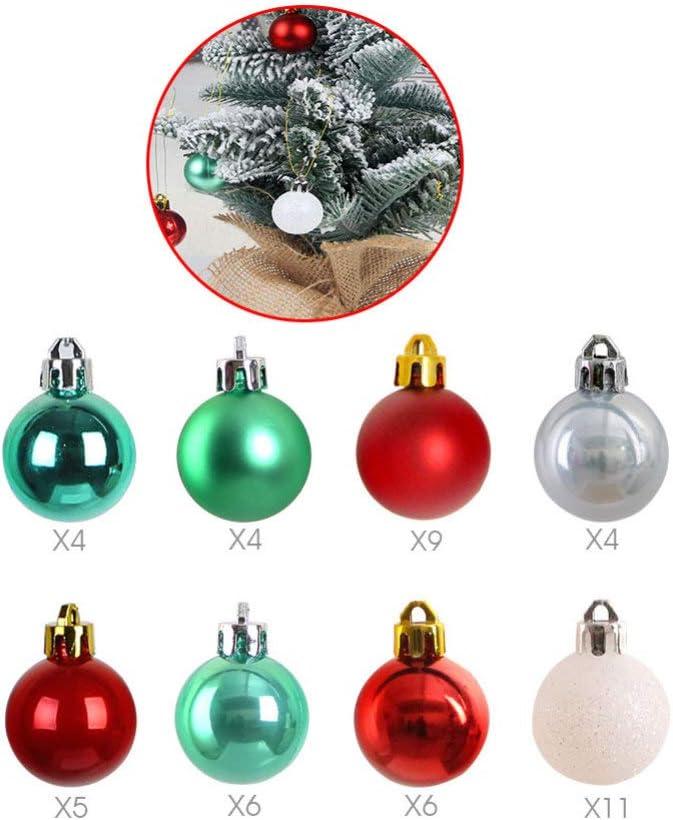 LIOOBO 49 piezas adornos de bolas de navidad coloridas decoraciones festivas de decoraci/ón navide/ña para el hogar decoraci/ón de fiesta de a/ño nuevo de navidad blanco y dorado
