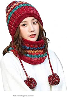 YPSMWXG Women's Knitted Hats Scarf Set Winter Warm Thicken Crochet Bubbles Small Pompoms Beanie Hats Hats Outdoor Skiing Snowboarding Cycle Bubbles with Wool-Lined Hats,Red