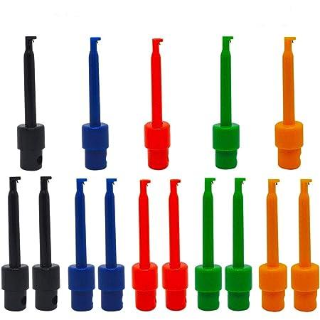 Senven 15 Stücke Multimeter Draht Blei Test Haken Clip Elektronische Mini Test Sonde Set Rot 3 Blau 3 Schwarz 3 Gelb 3 Grün 3 Für Repair Tool Prüfspitze Grabber Baumarkt
