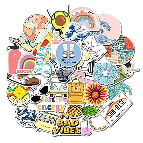 VSCO Aufkleber für Wasserflaschen, niedliche wasserdichte Vinyl-Graffiti-Aufkleber für Teenager-Mädchen dekorativ / Laptops / Skateboards/Autos/Motorräder/Fahrräde /PS4/Hüllen / iPhones 35Pcs
