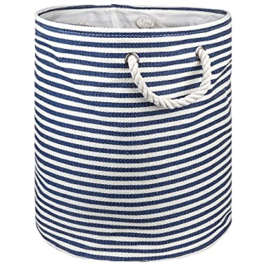 """DII Woven Paper Basket or Bin, Collapsible & Convenient Home Organization Solution for Bedroom, Bathroom, Dorm or Laundry(Medium Round - 14x17""""), Nautical Blue Pin Stripe"""