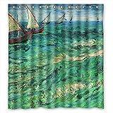 comeciti anchura x altura/72x 72pulgadas/W H 180por 180cm poliéster arte pintura Vicente Willem Van Gogh barcos baño cortina de tela es adecuado para los niños Niños Niños Niños Valentin
