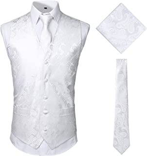 65c139c4c42c JOGAL Men's 3pc Classic Paisley Floral Jacquard Waistcoat&Necktie and  Pocket Square Vest Set for Suit or