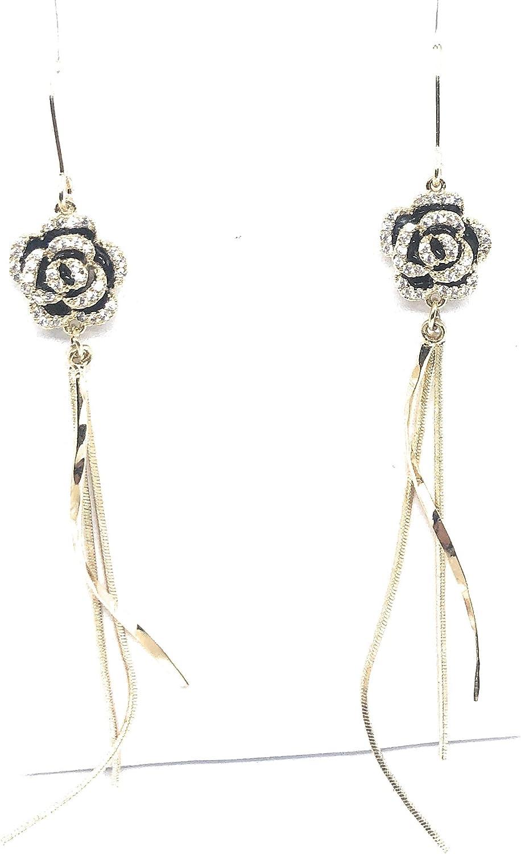 Women Gold Tone Rose Unique Dangle Earring Drop Earrings For Women