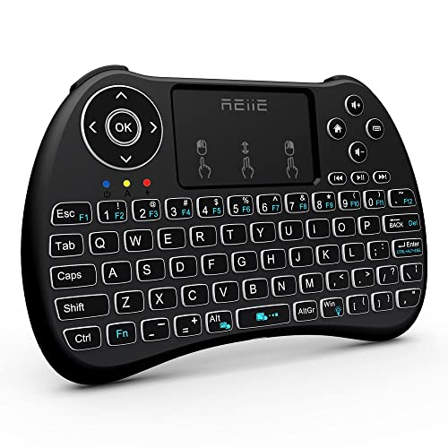 (2018 Backlit Version)REIIE H9+ Backlit Wireless Mini Handheld Remote Keyboard with Touchpad Work