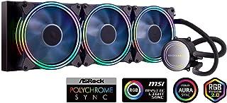 Golden Field ICY Chill Series - Enfriador de CPU con 3 ventiladores RGB PWM ajustables de 120 mm y 360 mm sistema de refrigeración por agua para CPU AMD Intel