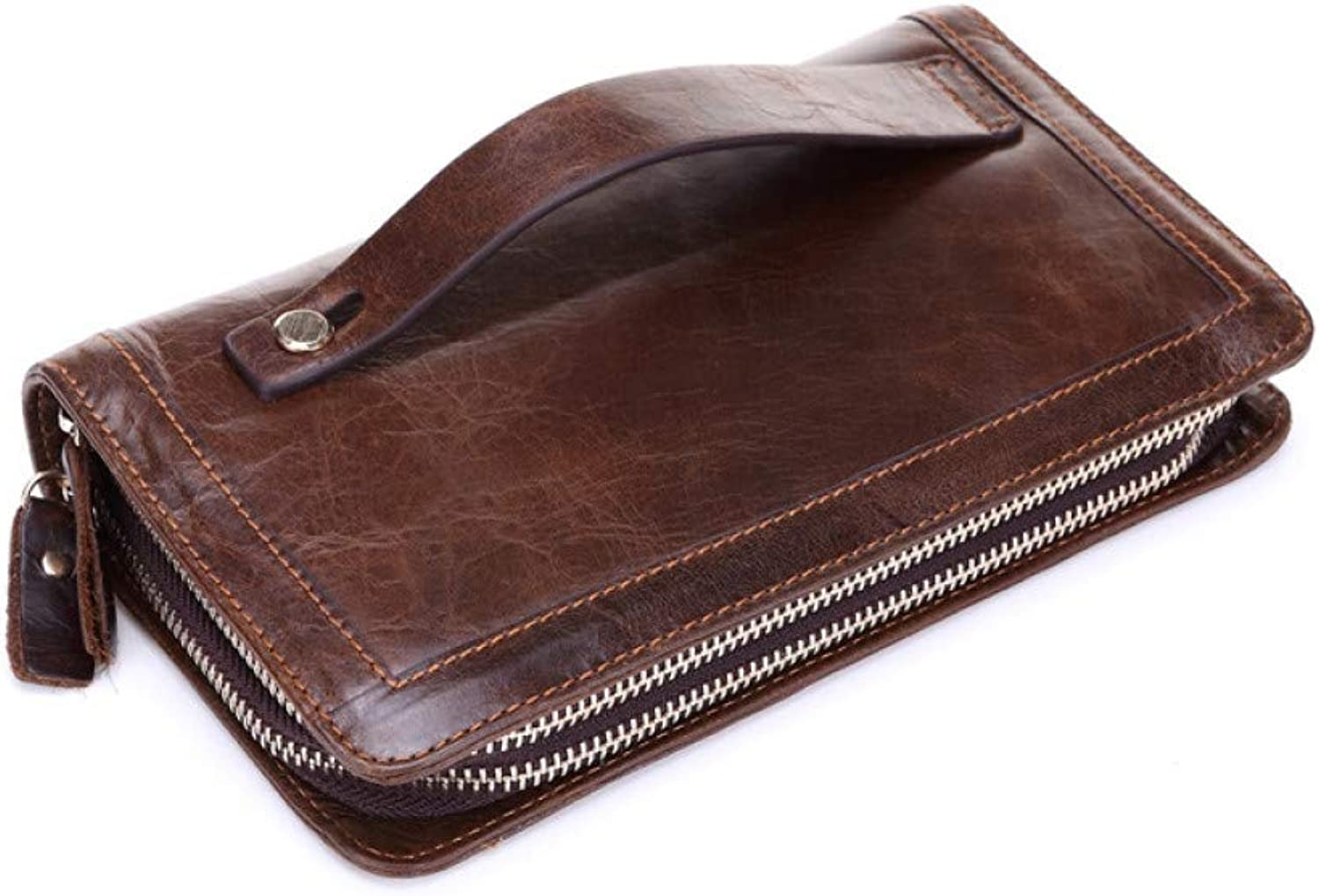 KHGUDS Business Men Long Organizer Wallets Luxury Natural Real Leather Male Genuine Leather Cash Purses Clutch Card Holders