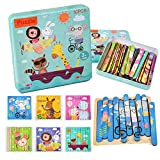 TSYAN Animal Wooden Jigsaw Puzzles Pattern Blocks Preschool Learning Peg Puzzle Montessori Educational Sorting and Stacking Toys for Kids Toddlers Boys Girls Age 3+ Years Old (30 Pieces & 6 Patterns)