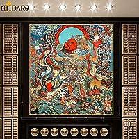 ポスター 仏絵タンカチベットインド中国の宗教装飾スタイルキャンバスプリント絵画ポスターアートの壁の写真家の装飾 MDYJP (Color : フリー, Size (Inch) : 80x86cm No Frame)
