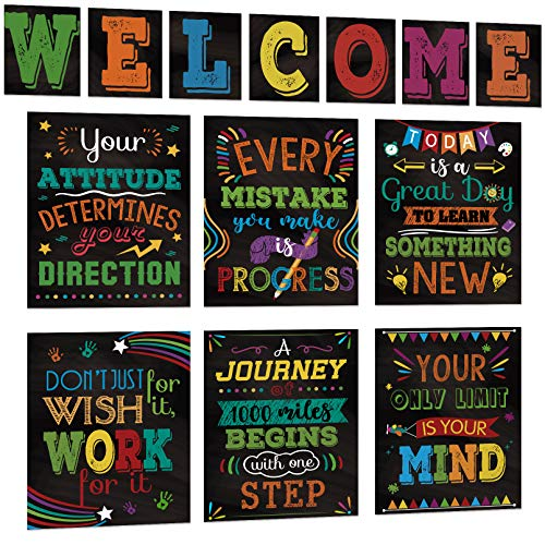 13 pieces Motivational Posters for Classroom, Laminated Inspirational Poster Bulletin Board Sets Inspirational Quote Wall Art with Welcome Sign for Teachers, Students, School Counselors, Home & Office