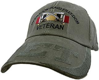 EC US Army Iraqi Freedom Veteran Embroidered Hat - Buckle Closure Cap, Green, Adjustable