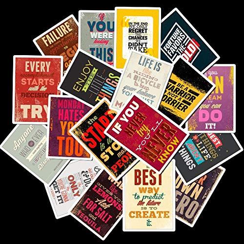 JIAQI Motivierende Typografie Leben Zitate Retro Aufkleber für Kinder Notizbuch Tagebuch Aufkleber Laptop Schlafzimmer Wandaufkleber25Pcs / Pack