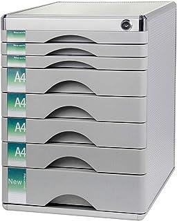 HongLianRiven Armoire de Bureau 8 tiroirs verrouillables données Classeur de Stockage - en Alliage d'aluminium - 30x36x40....
