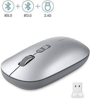 OMOTON Ratón Inalámbrico MacOS, iOS, Windows Ratón Bluetooth Inalámbrico Adjustables dpi (2400/1600/1000dpi), Modos Bluetooth 5.0/3.0 + 2.4GHz, Plata