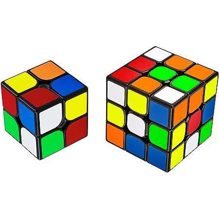 魔方 キューブ 2個セット【2×2、3×3】 立体パズル【日本語6面完成攻略書付き】競技用 ポップ防止 知育玩具 対象年齢:6歳以上 (ブラック 2x2 3x3)
