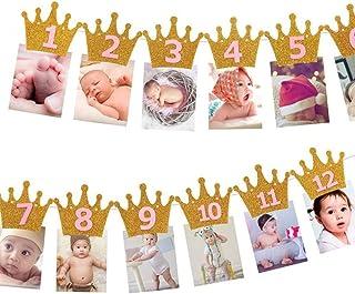 Kingsie ガーランド 誕生日 バナー クラウン キラキラ 写真クリップ 1歳 12月 誕生日飾り 壁飾り パーテイ飾り (ゴールド&ピンク)