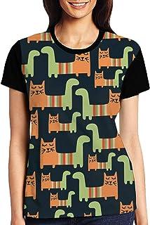Christmas Seamless With Bear Womens Casual Crewneck T-Shirt
