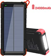 Solar Charger 24000mAh, Dr. Prepare Portable Power Bank Solar Panel Charger with 3 Output Ports, Quick Charge, and LED Flashlight, External Battery Pack for iOS and Android
