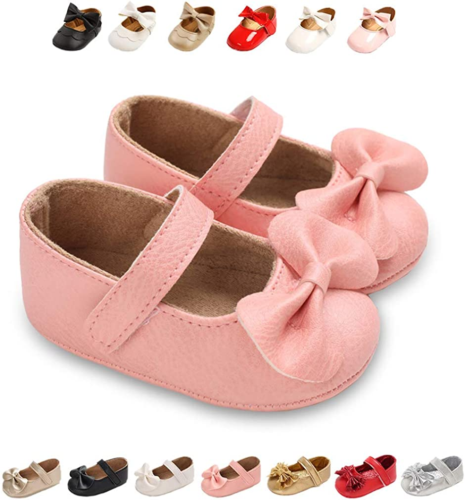 TOBEBEGO Baby Girl Shoes Infant Non-Slip Baby Girl Dress with Bowknot Toddler Mary Jane Shoes