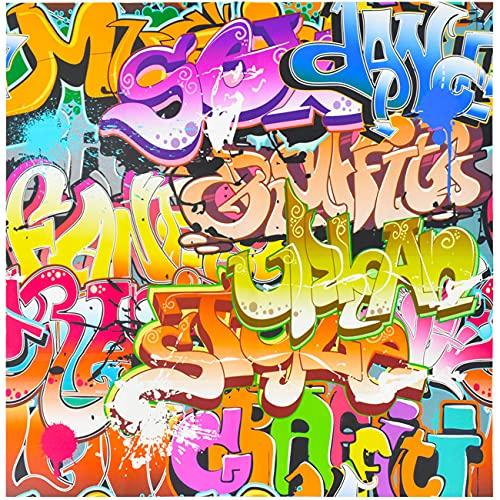 Telones Fondo Graffiti - simyron Pared Ladrillos Colores, Fondo Cabina Fotos, para Música Retro, Rock Punk, Decoración Pancartas Fiesta, Accesorios Estudio,Retrato Fotografía -125 X 80cm