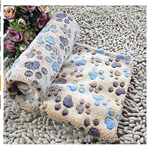 WEDER - Manta para cama de perro con estampado de patas suaves y cálidas para perros pequeños, medianos y gatos, café, 60x40CM