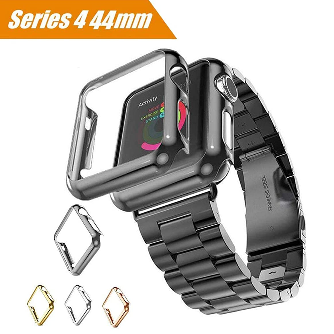 Maxku Apple Watch Series 4 ケース 44mm ケース PC メーキ加工 耐衝撃性 脱着簡単 超薄 アップル ウォッチ シリーズ4 44mm カバー 4色選択可能 (ブラック)