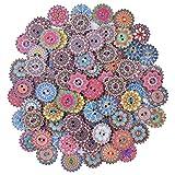 Chstarina 100 Pezzi Colori Dipinte Bottoni Modello Misto Bottoni in Legno Vintage Bottoni in Resina retrò con 2 Fori per Cucire e Realizzare Decorazioni (Bottoni di Fiori)