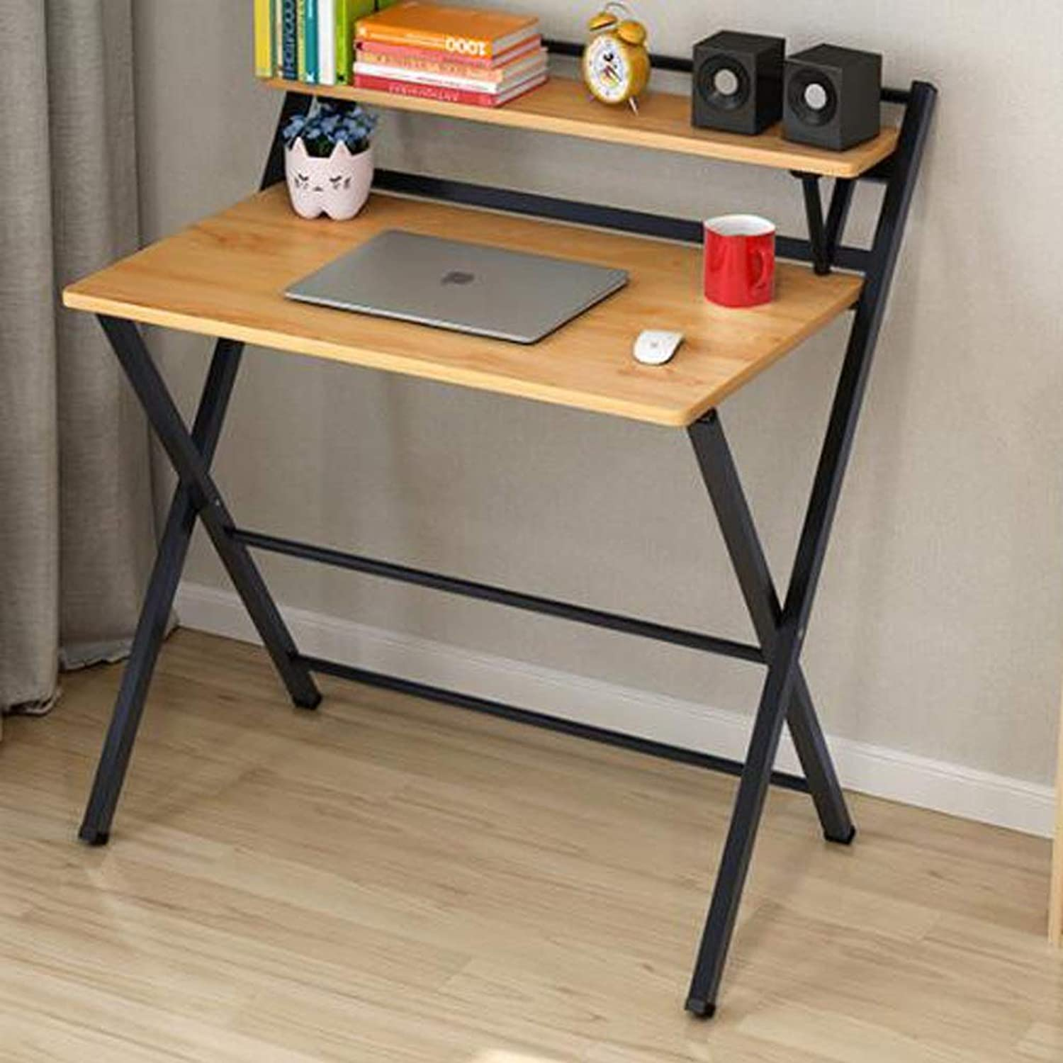 HBJP Folding Table Desktop Simple Computer Table Bedroom Study Table, Desk Student Portable Small Table Folding Table (color   B)