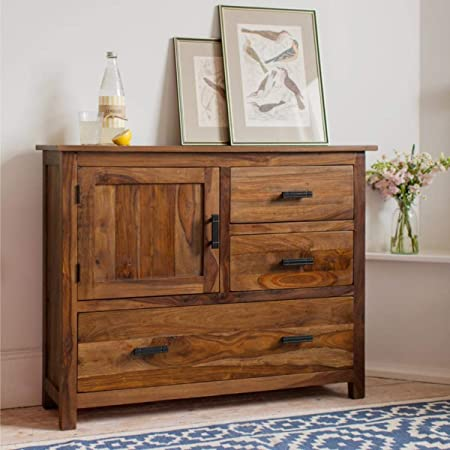 MH Decoart Solid Sheesham Wood Sideboard Cabinet with 3 Drawer and 1 Door Storage for Living Room Bedroom Hall Kitchen Home Office Wooden Furniture (Natural Honey Finish)