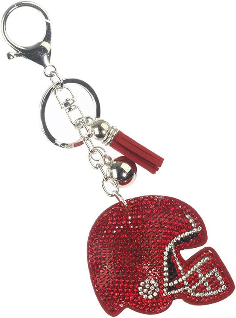 Keychains Keyrings ~ Red Crystal Football Helmet Stuff Pillow Purse Bag Charms Key Chain for Women Birthday Gifts