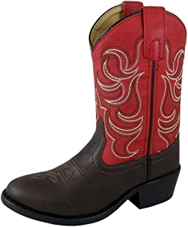 Smoky Children's Kid's Monterey Dark Brown and Red Western Cowboy Boot