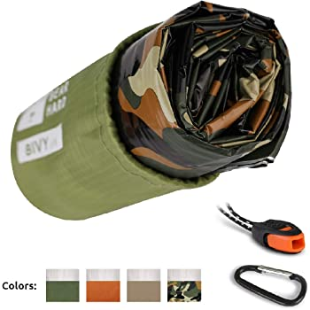 Bearhard Emergency Sleeping Bag Emergency Gear Bivy Sack Ultralight Waterproof Thermal Survival Bivvy Bag with Heat Retention for Camping, Hiking,Backpacking