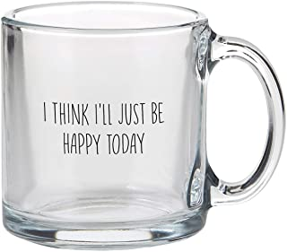 SB Design Studio D2213 Sips Clear Glass Mug with Funny/Clever Phrase, 13-Ounce, Be Happy