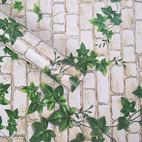WOW Interiors PVC Peel and Stick, Self Adhesive White Brick and Green Leaf Wallpaper, 200 x 45 cm, Multicolor(White…