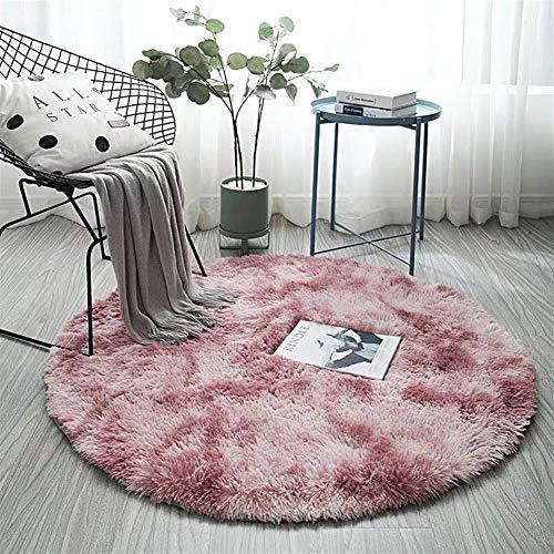 AKEFG Plüsch-Art Rund-Vorleger eleganten Chic Cozy Shaggy Rund Teppich Boden Teppichboden Vorleger Hausdekoration Luxus Fluffy Super Soft Kinderspielmatte,Rosa,120 cm