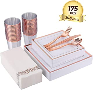 FOCUS LINE 175PCS Rose Gold Dinnerware Set for Party or Wedding,Disposable Square Plastic Plates & Silverware,Include 25 Dinner Plates,25 Dessert Plates,25 Forks,25 Knives,25 Spoons,25 Cups,25 Napkins