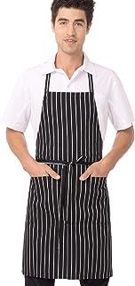 Chef Works Bib Apron, Black/White Chalk Stripe, 34.25-Inch Length by 27-Inch Width
