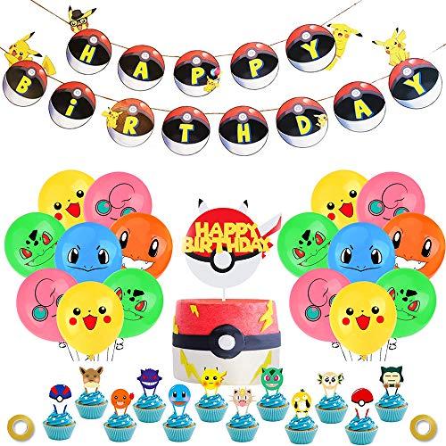 Fournitures de fête d'anniversaire Pokemon pour Enfants et garçons La décoration d'anniversaire Pikachu Comprend Un Ballon de bannière de gâteau d'anniversaire