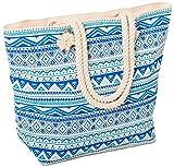 AIREE FAIREE Borsa da spiaggia Donna 46 x 35 x 15cms Grande Estate Canvas Tote Bags corda della maniglia del modello Aztec