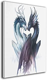 LP ART Canvas Print Wall Art Yin Yang Dragons Picture Painting for Living Room Bedroom Modern Home Décor Ready to Hang Stretched and Framed Artwork 16''x20''