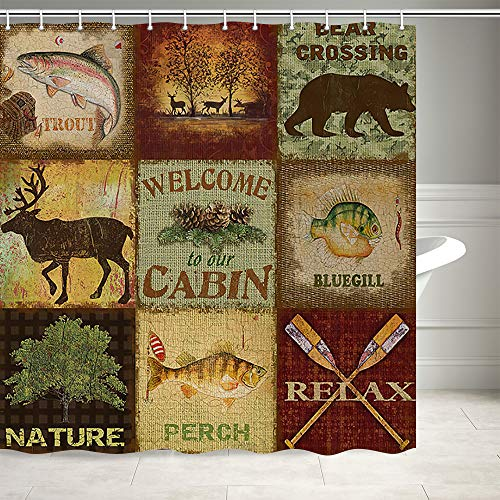 Farmhouse Shower Curtain, Nature Country Pines Rustic Cabin Lodge Bear Deer Country Style Shower Curtain for Bathroom, Fabric Shower Curtain with 12PCS Hooks, 69X70IN