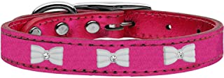 Mirage Pet Products White Bow Widget Genuine Metallic Leather Dog Collar Pink 10